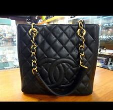 Genuine Quilted Black Caviar Leather Chanel Shopper Tote