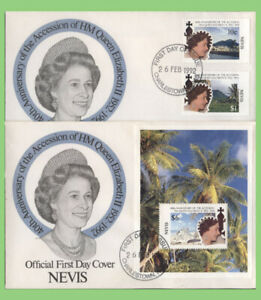 Nevis 1992 QEII 40th Anniversary of Accession set & m/s on two First Day Covers