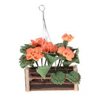 1/12 Dollhouse Miniature Hanging Plants Flower w/ Basket Room Garden Decor