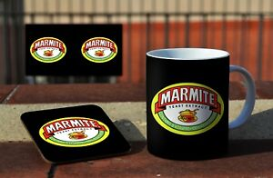 Marmite Awesome Ceramic Coffee MUG + Wooden Coaster Gift Set