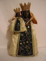 Schwarze Madonna Heiligenfigur,30 cm,Stoffgewand,NEU,Religion Kirche