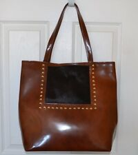 Varriale  Nat Fur Leather Studded Tote Shoulder Bag $495 Made In Italy New