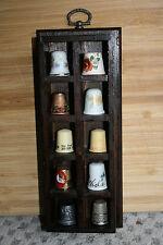 """Thimble Display Case w/ 10 Vintage Thimbles Wall Hang Wood 8""""x3"""""""