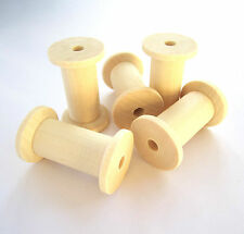 10x 4cm unfinished natural wooden spools bobbins reels for ribbons cottons