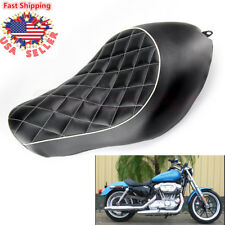 Leather Diamond Driver Solo Seat Cushion For Harley Sportster XL1200 XL883 04-15