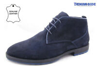 Mens Leather Desert Boots Suede Lace Up Chukka Ankle Casual Shoes Navy Trainers