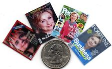 4 Mini  HILLARY CLINTON    MAGAZINES - Dollhouse 1:12 scale OPENING PAGES