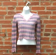Vintage 90s 2000s Purple Striped Ribbed Top Juniors Notched Neckline (1476)