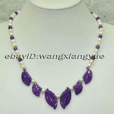 "Genuine 7-8MM White Akoya Pearl / Amethyest Pendants Necklace 18"""