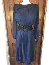 Striking Vintage Pleated Secretary Chiffon Dress Size 14,16 Bust 44ins