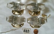 4 FAUX GLASS brass DOOR KNOBS Art Deco LARGE c1940 stunning looks IMPACTING k169
