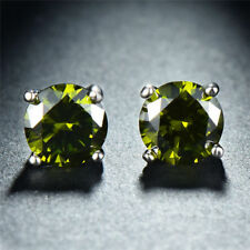 2.00 Ct Green Peridot Gemstone 18K White Gold Plated Stud Earrings 6MM