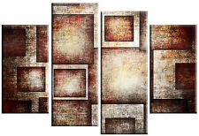 LARGE ABSTRACT BROWN RECTANGLES MULITI PANEL 4 CANVAS WALL ART SPLIT 100cm wide