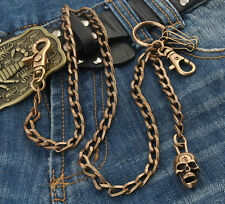 """DK Strong Skull Flat EMO Biker Trucker Key Jean Wallet Chain (26.5"""") Brown CS91"""