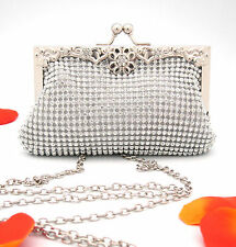 Bling Bling Clutch Party Purse Evening Bag White Gold Metal Frame Rhinestones