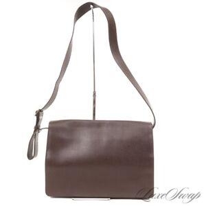 LNWOT Barneys New York MODERN Chocolate Brown Saffiano Leather Messenger Bag NR