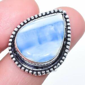 Owyhee Blue Opal Gemstone Handmade Silver Jewelry Ring Size 8 LG270