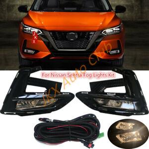 For Nissan Sentra 20-21 Front Bumper Bezel Driving Lamp Fog Light w/Wiring k Kit
