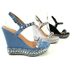 Scarpe da donna sandali elegante decoltè decollete con tacco alto zeppa  plateau