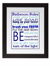 Blue Bathroom Rules Wall Art Print poster Family Rules Brush your teeth Wash
