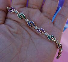 2.50ct Blue sapphire, 2.50ct Rubies 2.50ct emerald .60ct diamond bracelet 13.9g