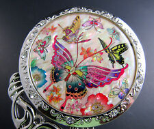 MOP Flower Butterfly Design Cosmetic Makeup Hand Held Vanity Pouch Mirror (e14)