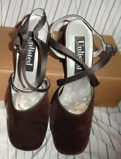 7.5 NWoT Ladies Womens Kenneth Cole Unlisted Shoes Brown Block Faux Suede Heels