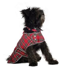 Ancol Dog Coat Harness Compatible Muddy Paws Red Highland Tartan Puppy