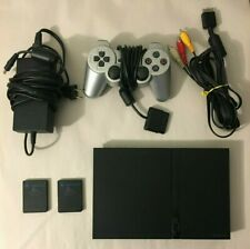 Sony PlayStation 2 Slim Black Console w/ Controller, 2 Memory Cards, Cables