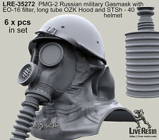 Live Resin 1/35 Russian Military Gas Masks PMG-2 with EO-16 Filter, Long Tube