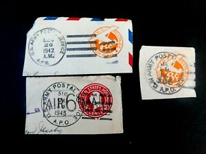 US Army Postal Service Cut Squares, WWII, #UC2 & UC8, 6 cent surcharge 1940's