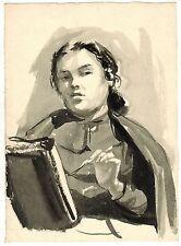 1950's WOMAN'S WATERCOLOR PORTRAIT #2 by U/K Soviet Russian artist