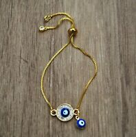 Pulsera mal de ojo dorada y azul nueva amuleto suerte proteccion mujer hamsa