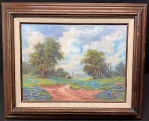 Vintage Bluebonnet Landscape Barn Trees Windmill Pasture Original Oil Painting