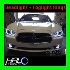 2011-2014 DODGE CHARGER WHITE LED LIGHT HEADLIGHT+FOG LIGHT HALO KIT by ORACLE