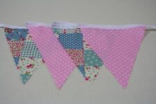Blue 100% Cotton Bunting Blue Patchwork & Pale Pink spot Single side 10m/32ft