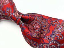 ERMENEGILDO ZEGNA Red Blue Shimmering Paisley RECENT Thick Woven Silk Tie Italy
