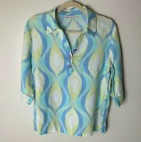 JM Collection Women's Top Size Large Petite Linen Pastels Casual Roll-Tab Sleeve