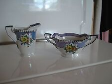 Noritake 1930s Lusterware Creamer and Sugar M in Wreath Hand Painted Excellent!