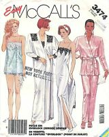1987 McCall's Sewing Pattern #3474 Misses Robe Nightgown Camisole Pants Sz 14-16