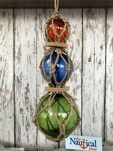 (3) Glass Fishing Floats On Rope ~ Nautical Fish Net Decor ~ Red, Blue, Green
