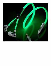 Light Glow In Dark Green Zipper Earphone with Microphone 3.5MM Port for MP3