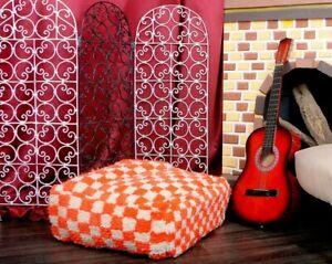 Moroccan Pouf Cactus Wool Floor Handmade Footstool Shaggy Ottoman Pouf Check