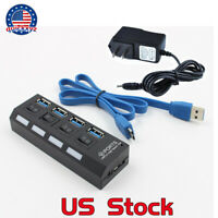 4 Ports USB 3.0 HUB Splitter Box 5Gbps Super  External Speed AC Power Adapter US