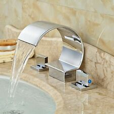 C Curved Waterfall Spout Bathroom Basin Faucet Tub Vanity Sink Mixer Tap Chrome