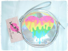 Luv Betsey Johnson Holographic Rainbow Melting Heart Wristlet Coin Purse
