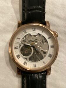 USED Rotary Men's Leather Automatic Skeleton Watch G02843/02