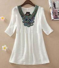 Women fashion embroidered Top Blouse size 14 16 18 clothing White Shirt Summer