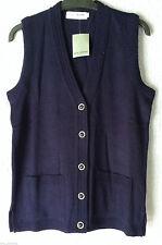 Button Waist Length Sleeveless Jumpers & Cardigans for Women