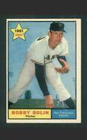 1961 Topps Bob Bolin #449 (ROOKIE) Baseball Card San Francisco Giants HOF